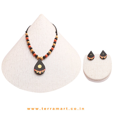 Pink, Orange, Gold & Sap Green Painted Colourful Handmade Terracotta Chain Set - Terramart Jewellery