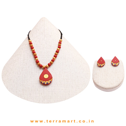 Red, Violet, Gold & Mustard Painted Colourful Handmade Terracotta Chain Set
