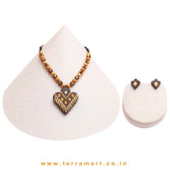 Fairly Designed Dark, Mustard, Sandal & Gold Colour Handmade Terracotta Chain Set - Terramart Jewellery