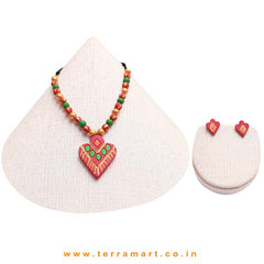 Fairly Designed Pink, Parrot Green, Orange & Gold Colour Handmade Terracotta Chain Set - Terramart Jewellery