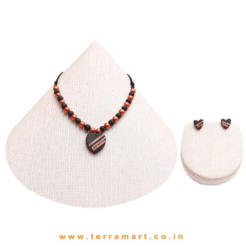 Heart Designed Copper, Black Colour Handmade Terracotta Chain & Earrings