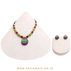Captivating Violet, Green & Gold Colour Handmade Terracotta Chain Set