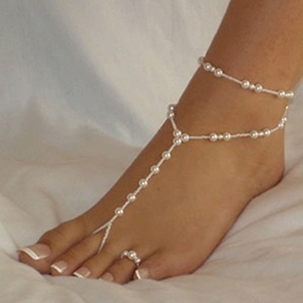 Gorgeous Pearl Ankle Bracelet w/Toe Ring - Barefoot Sandal