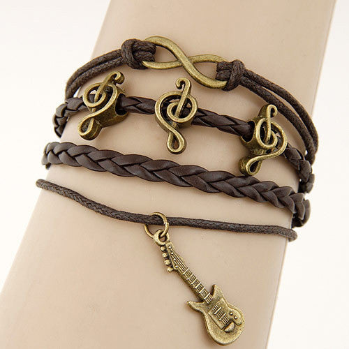 Women's Vintage Multilayer Leather Charm Bracelet