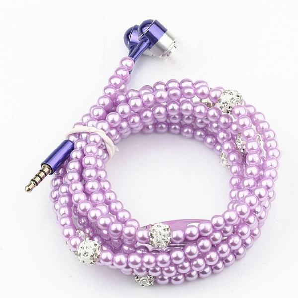 Fashionable Pearl Necklace Earbuds with Mic