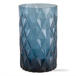 "Candle Holder- 8"" Faceted Glass Hurricane"