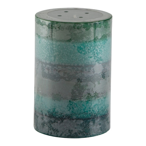 Scented Green & Blue Pillar Candle - Ginger Lime, Vanilla Blossom & Lemon Grass Ginger