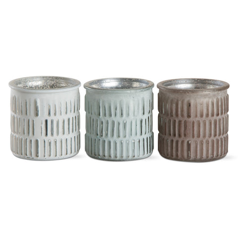 Candle Holders - Coastal Colors in Teal, Bronze & White