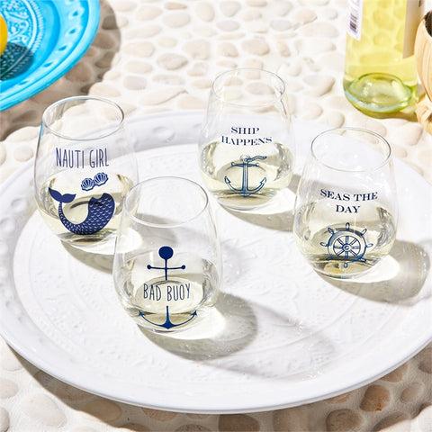 Wine Glasses - Nautical (Naughty) Stemless Wine Glasses