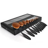10pcs/set Tooth Brush Shape Oval Makeup Brush Set