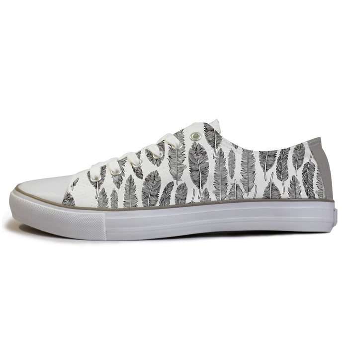 white feathers low top sneakers for women