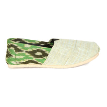 rivir-shoes - Ikkat Light Green Khadi Handmade Espadrilles for Women - Rivir Shoes - Espadrilles