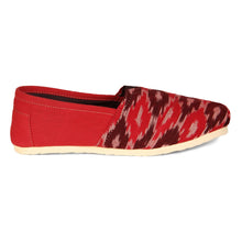 rivir-shoes - Ikkat Red Khadi Handmade Espadrilles for Women - Rivir Shoes - Espadrilles
