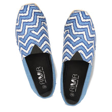 rivir-shoes - Rajasthani Zigzag Blue Khadi Handmade Espadrilles for Women - Rivir Shoes - Espadrilles