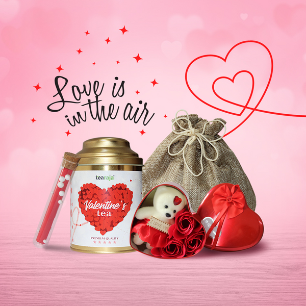 Valentine's Tea Kit (Tea + Message Scroll + Teddy + Rose + Bag)