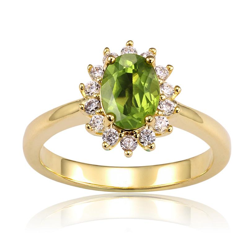 Princess Diana inspired Peridot Gold Filled Ring (August)