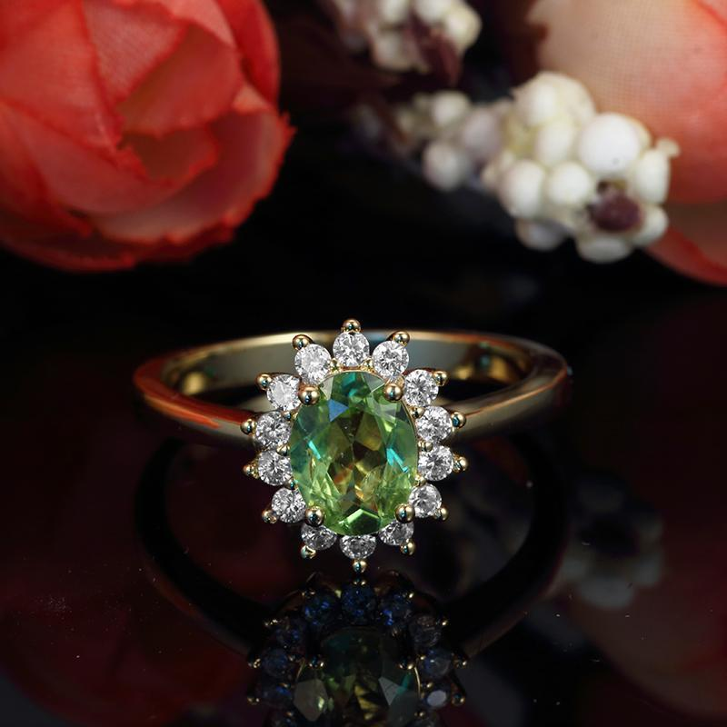 Princess Diana inspired Peridot Gold Filled Ring