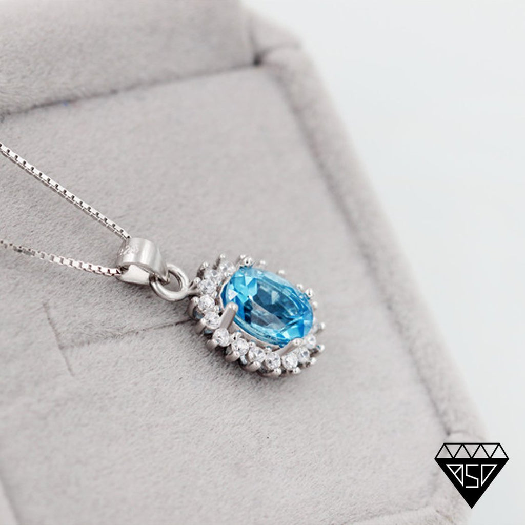 Princess Diana inspired 2.3ct Blue Topaz S925 Pendant Necklace (November)