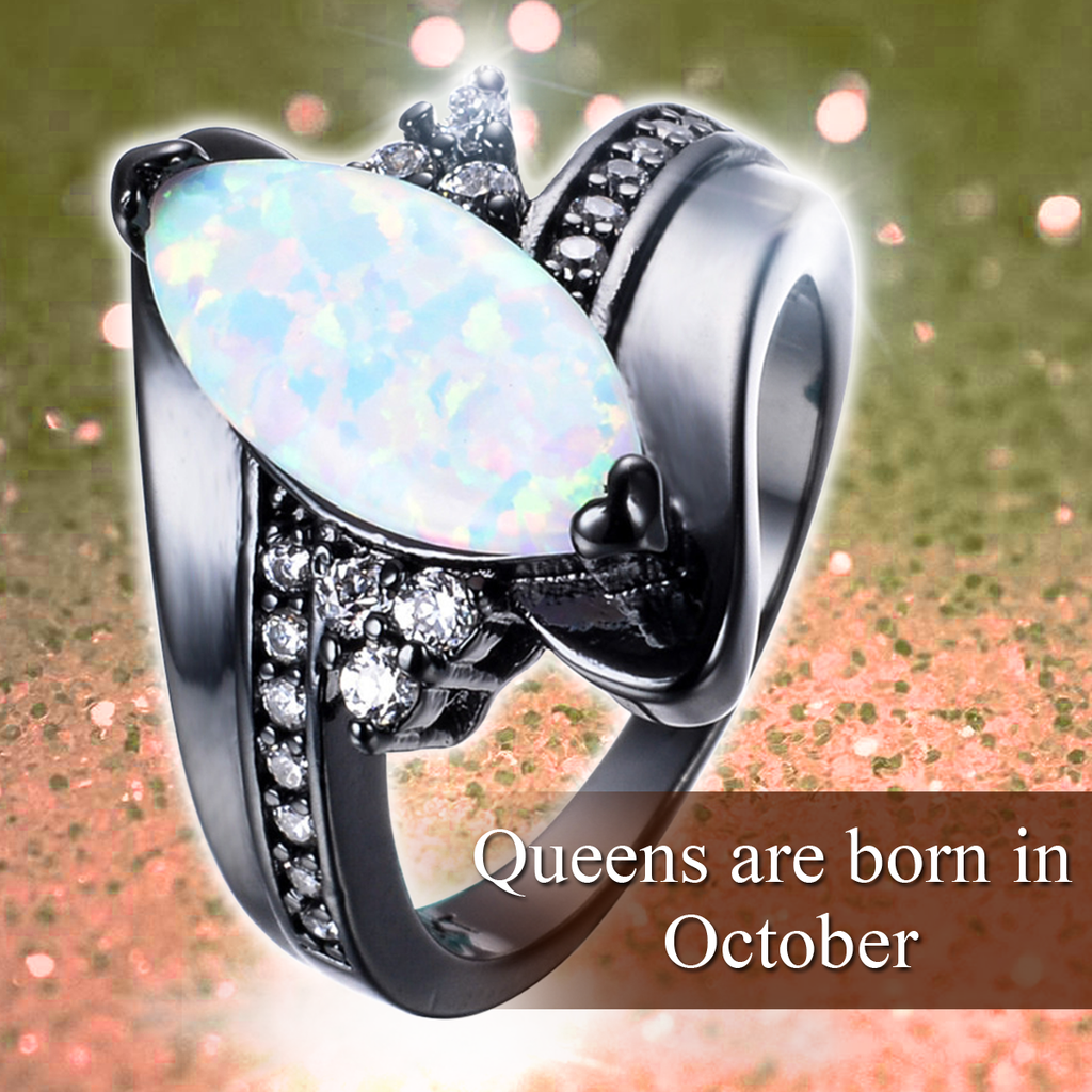 October Birthstone Fire Opal Ring