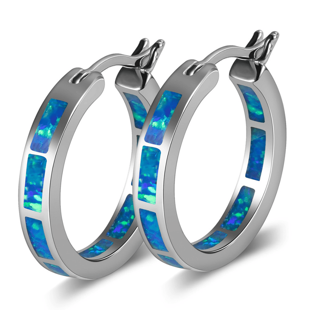 Blue Fire Opal October Earring Set