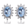 Princess Diana inspired 1.2ct Aquamarine S925 Earrings Set