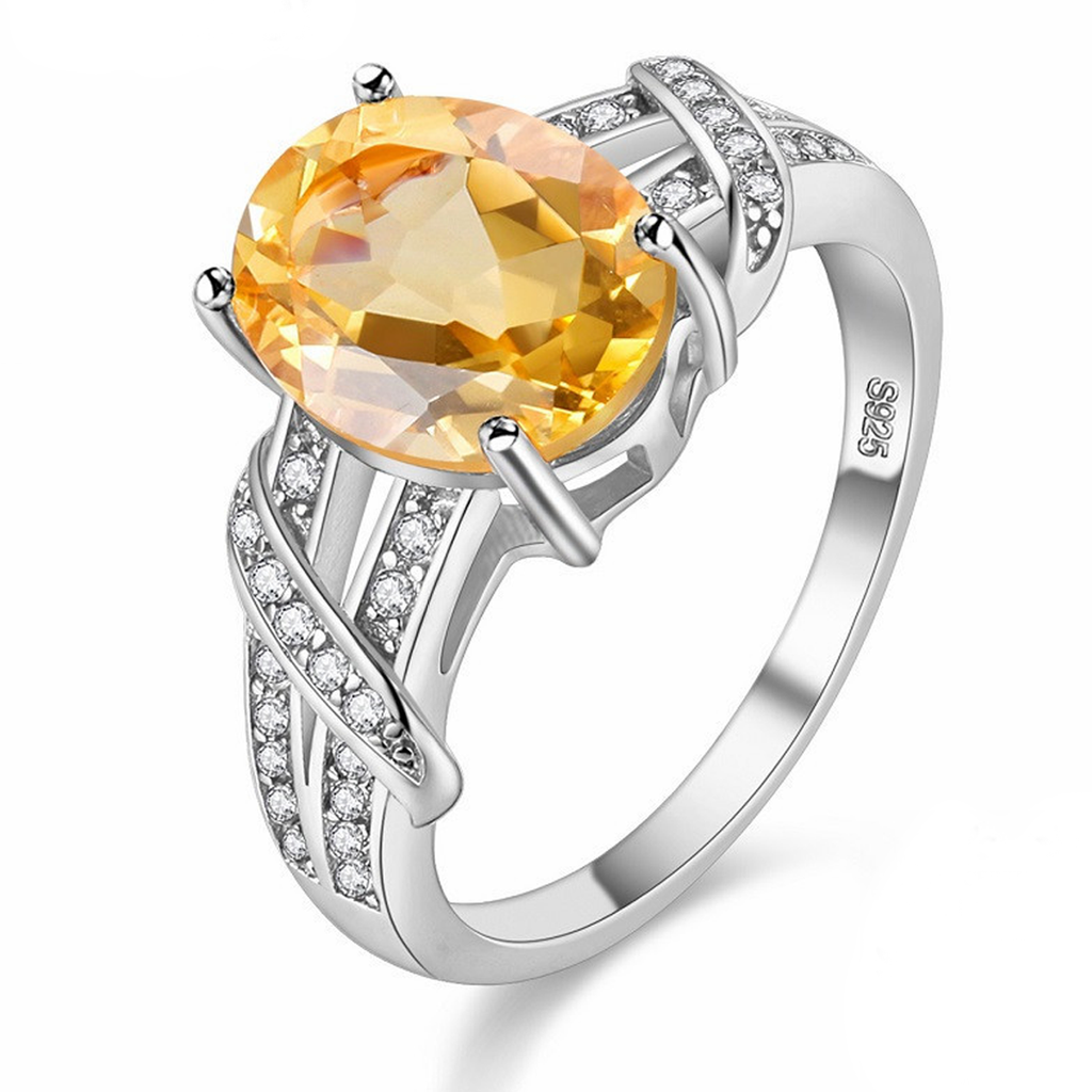 Beautiful November Citrine Birthstone S925 Ring