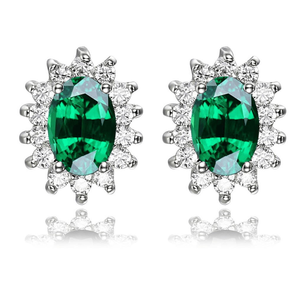 Princess Diana inspired 1.2ct Emerald Sterling Silver Earrings (May)