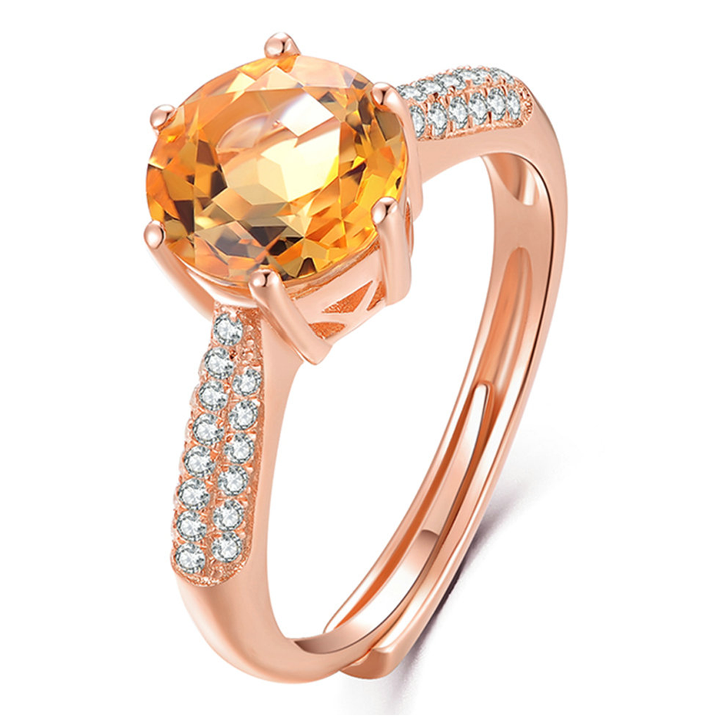 November Birthstone Citrine Rose-Gold Ring (Resizable)