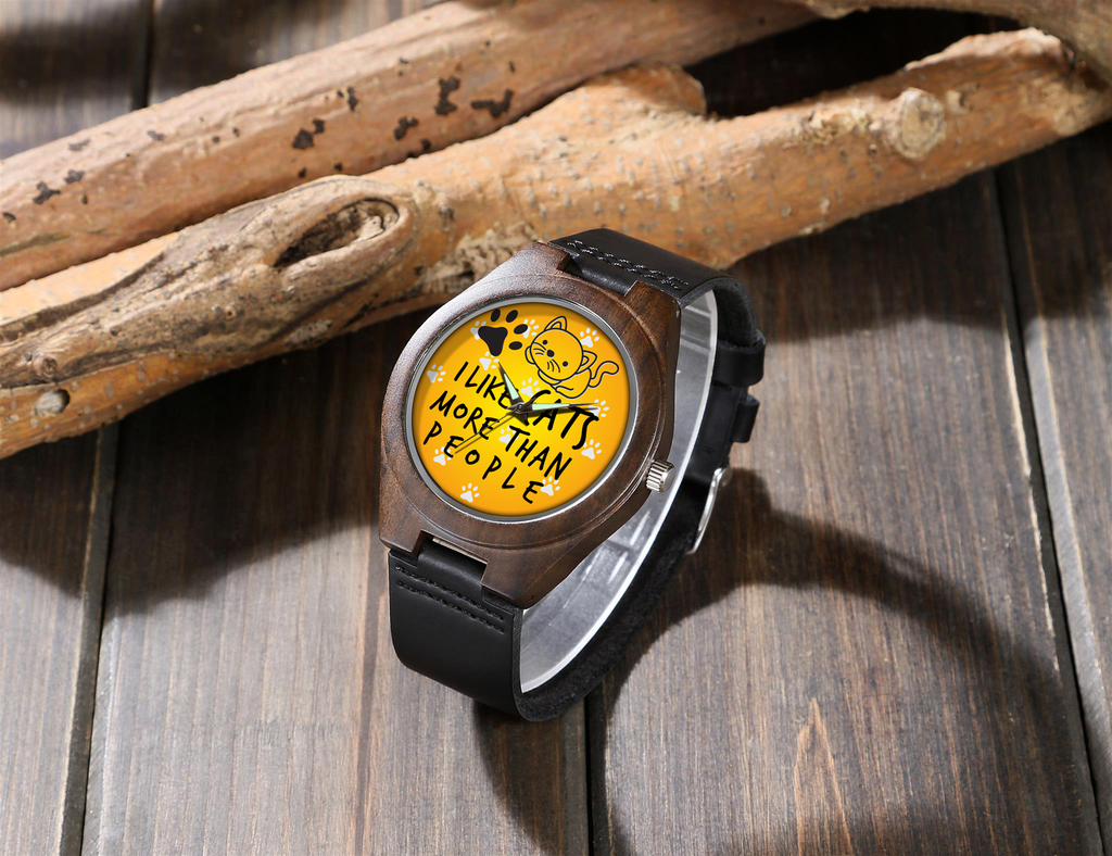I Like Cats - Wood Watch
