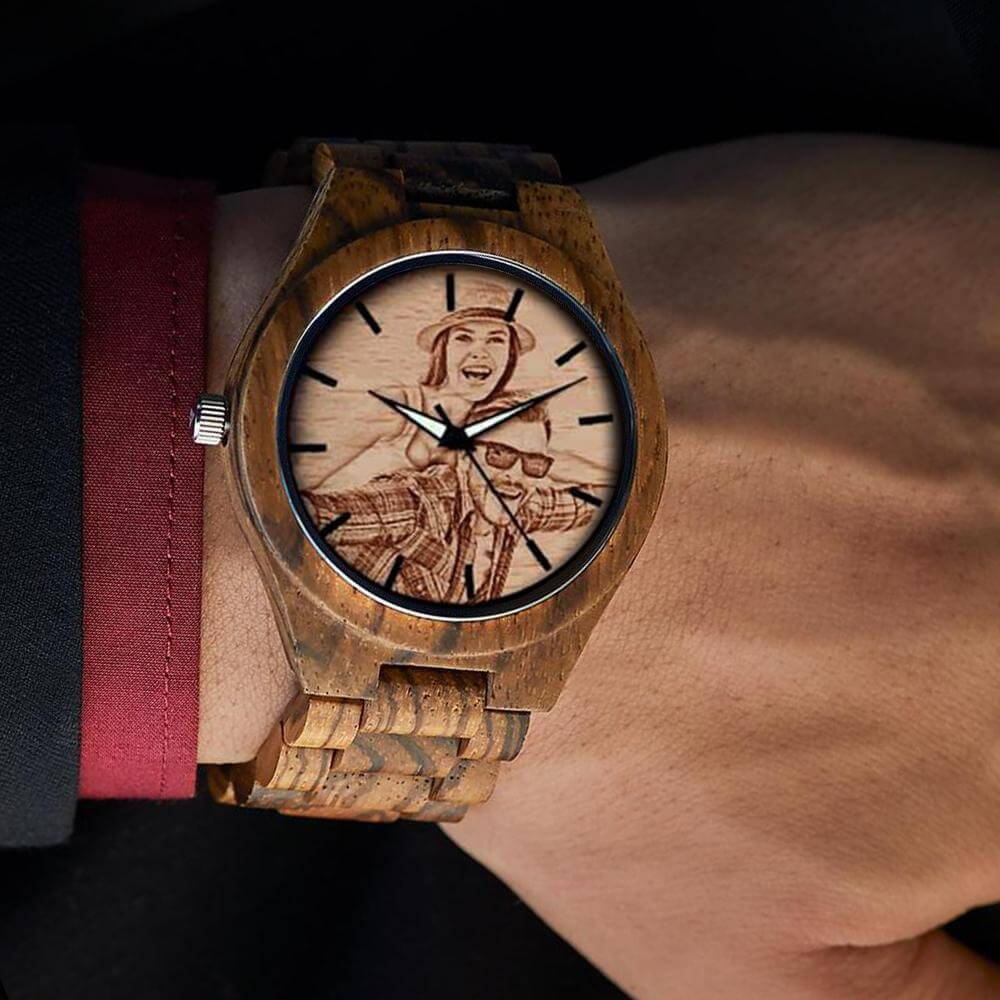 Zebra Custom Wood Watch (Laser Engraving)