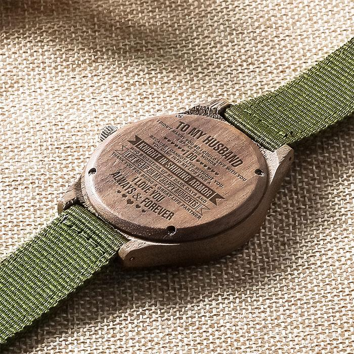 Knight In Shining Armor - My Husband - Wood Watch Forest Green Canvas Strap