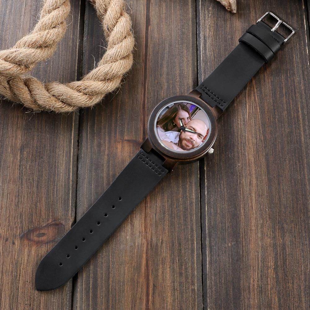 Personalized Photo Wood Watch (Leather Band)