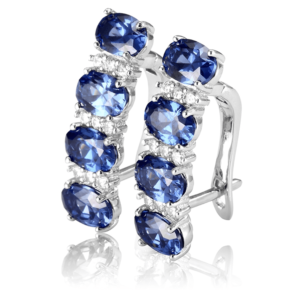 December Birthstone Tanzanite S925 Earrings Set