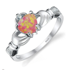 925 Sterling Silver Fire Opal Claddagh Ring (October)