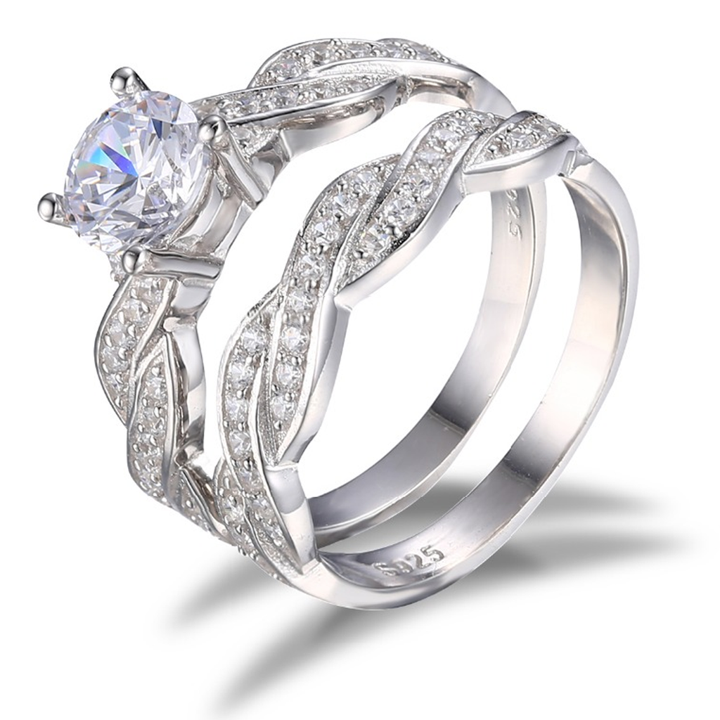 Diamond Birthstone S925 Ring Set (April)