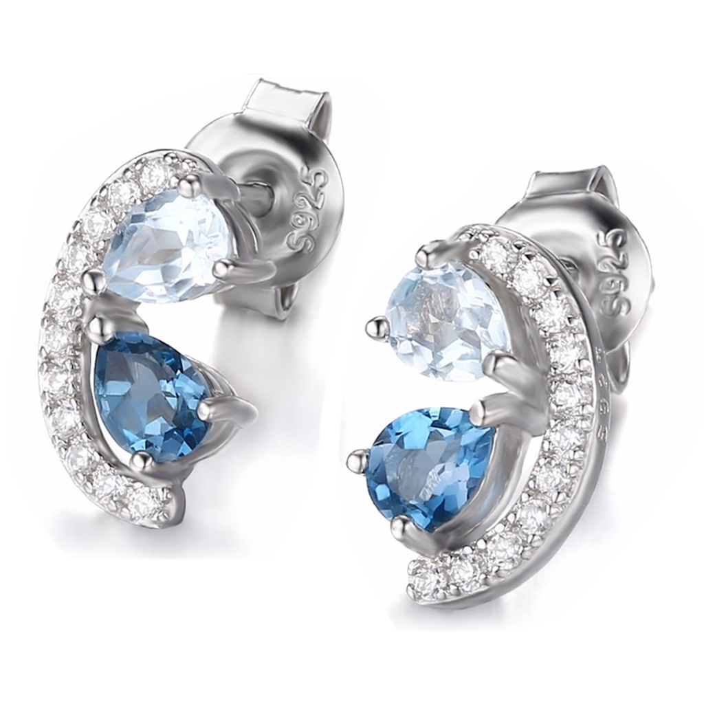 Genuine 0.8 Blue Topaz Cluster Stud Earrings (December)