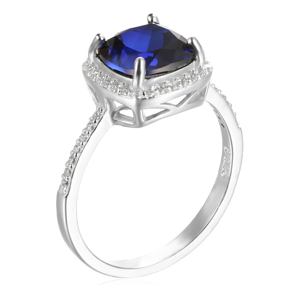 cushion in halo gold cut diamond carat engagement ring sapphire and blue white