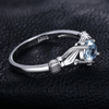 March Birthstone Aquamarine Claddagh S925 Ring