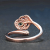 August Peridot Leaf Rose-Gold Ring (Resizable)
