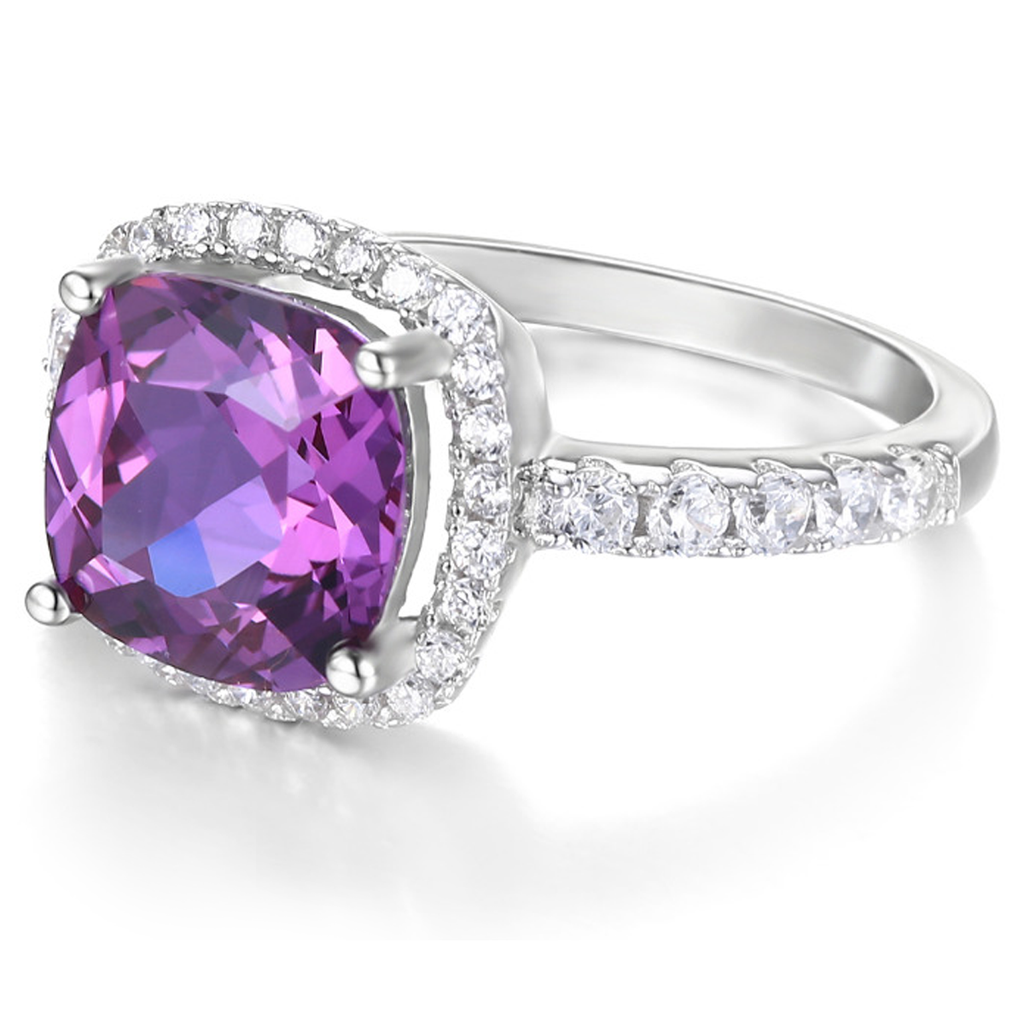 Genuine 5.3ct Cushion-cut Amethyst Ring (February)