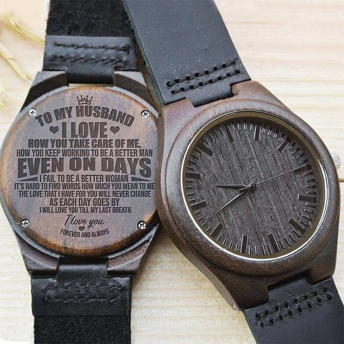 Forever & Always - My Husband - Wood Watch