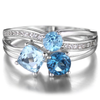 Genuine S925 Triple Blue Topaz Ring (December)