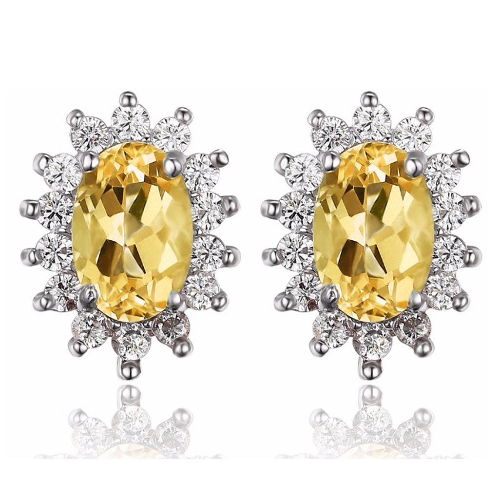 Princess Diana inspired 1.1ct Citrine Sterling Silver Earrings (November)