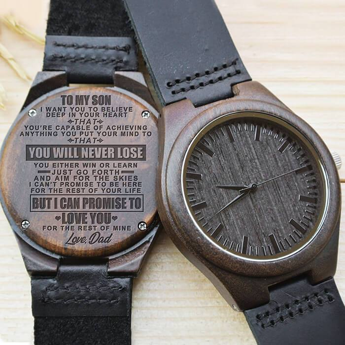 To My Son - Love Dad - Wood Watch