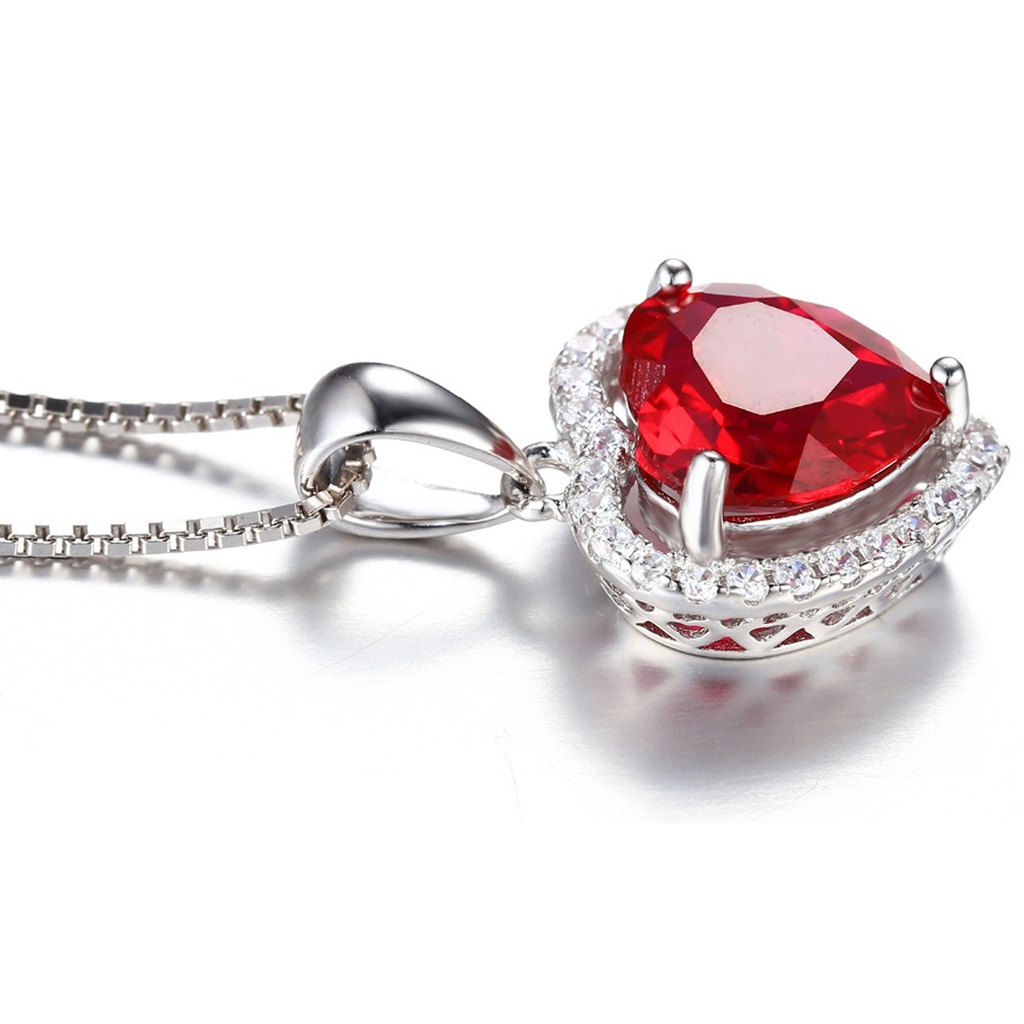 Genuine 3.9ct Ruby Heart Pendant
