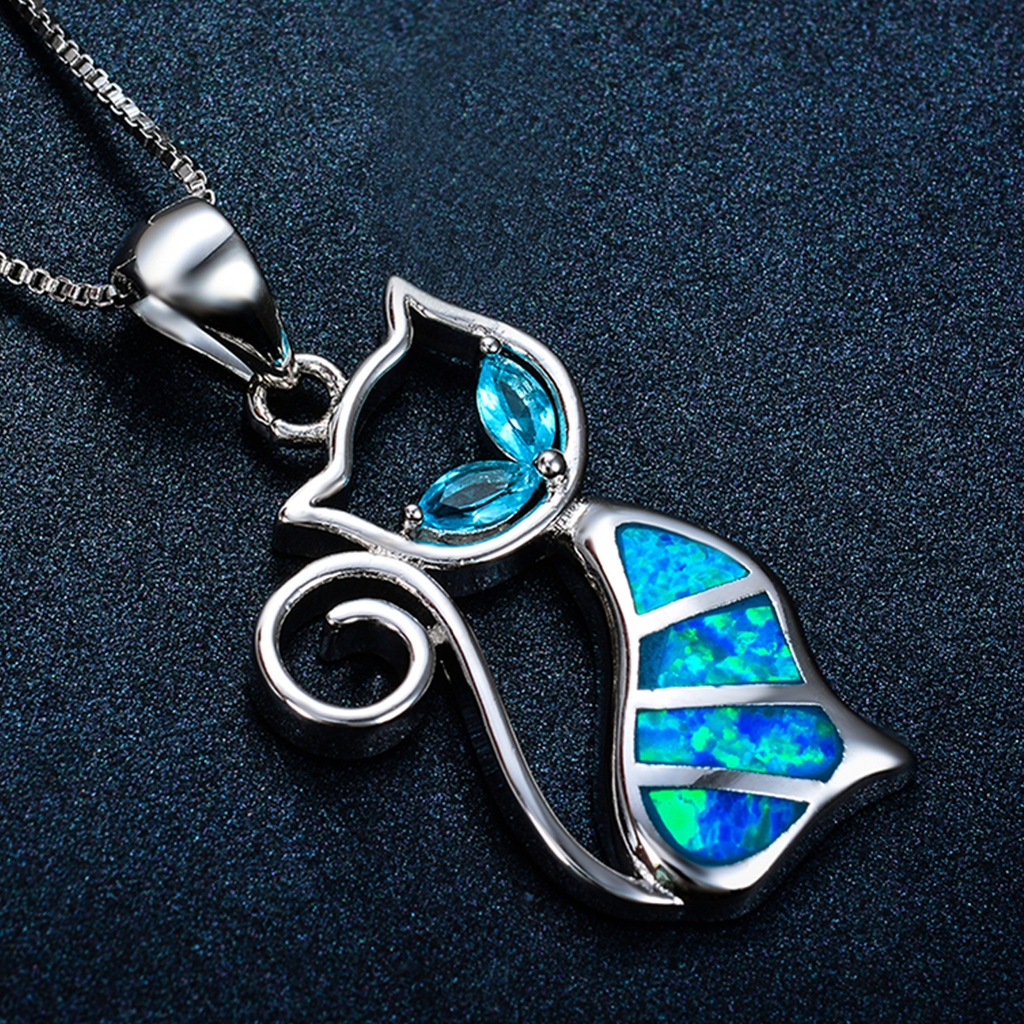 October Opal Cat Pendant Necklace
