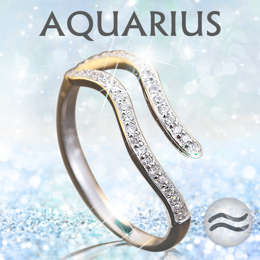 Sterling Silver Aquarius Zodiac Ring