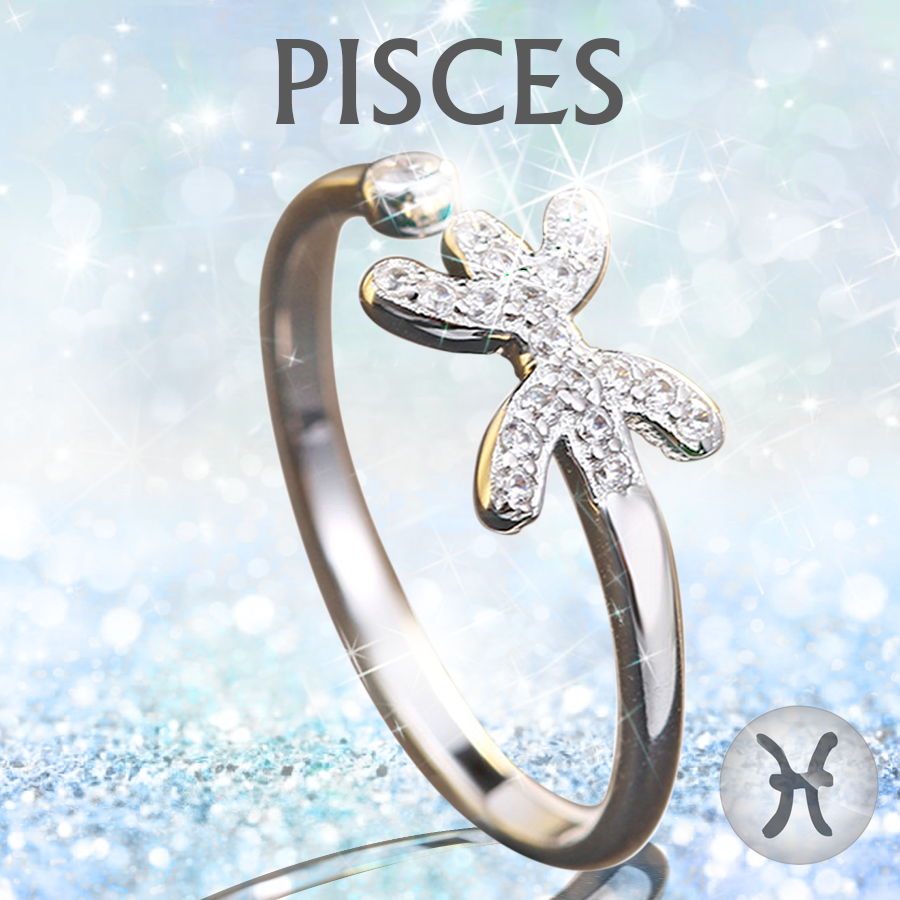 Sterling Silver Pisces Zodiac Ring