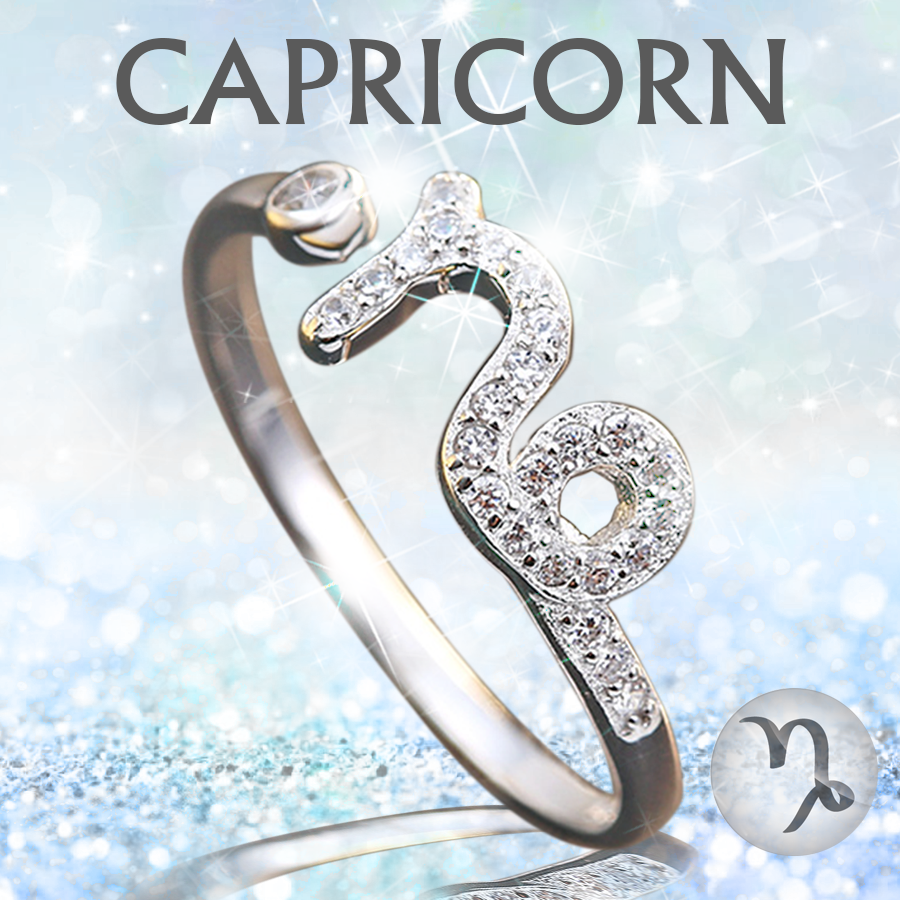 Sterling Silver Capricorn Zodiac Ring