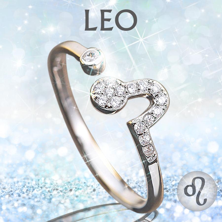 Sterling Silver Leo Zodiac Ring